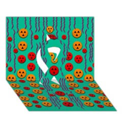 Pumkins Dancing In The Season Pop Art Ribbon 3d Greeting Card (7x5)