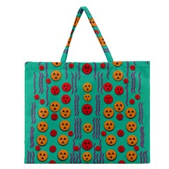 Pumkins Dancing In The Season Pop Art Zipper Large Tote Bag by pepitasart