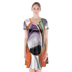 Abstract Orb Short Sleeve V Neck Flare Dress