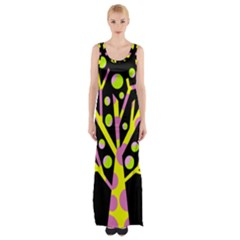Simple Colorful Tree Maxi Thigh Split Dress by Valentinaart