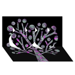 Purple Magical Tree Twin Hearts 3d Greeting Card (8x4) by Valentinaart