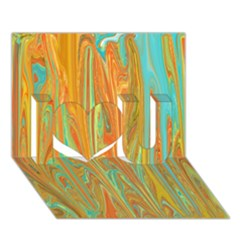 Beautiful Abstract In Orange, Aqua, Gold I Love You 3d Greeting Card (7x5) by theunrulyartist