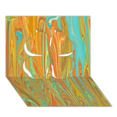 Beautiful Abstract In Orange, Aqua, Gold Clover 3d Greeting Card (7x5) by digitaldivadesigns