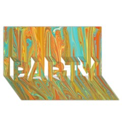 Beautiful Abstract In Orange, Aqua, Gold Party 3d Greeting Card (8x4) by digitaldivadesigns