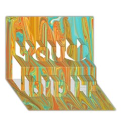 Beautiful Abstract In Orange, Aqua, Gold You Did It 3d Greeting Card (7x5) by theunrulyartist
