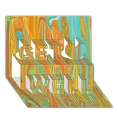 Beautiful Abstract In Orange, Aqua, Gold Get Well 3d Greeting Card (7x5) by digitaldivadesigns