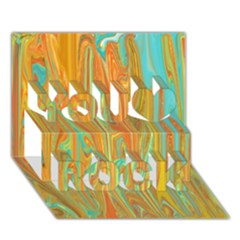 Beautiful Abstract In Orange, Aqua, Gold You Rock 3d Greeting Card (7x5) by theunrulyartist