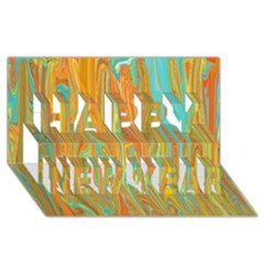 Beautiful Abstract In Orange, Aqua, Gold Happy New Year 3d Greeting Card (8x4) by theunrulyartist