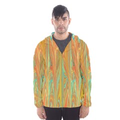 Beautiful Abstract In Orange, Aqua, Gold Hooded Wind Breaker (men) by theunrulyartist
