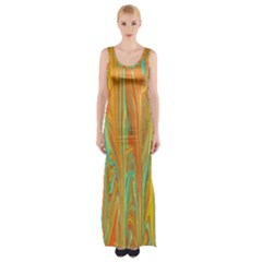 Beautiful Abstract In Orange, Aqua, Gold Maxi Thigh Split Dress by theunrulyartist
