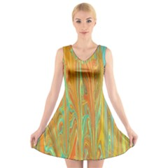 Beautiful Abstract In Orange, Aqua, Gold V Neck Sleeveless Skater Dress by theunrulyartist