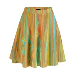 Beautiful Abstract In Orange, Aqua, Gold High Waist Skirt by theunrulyartist
