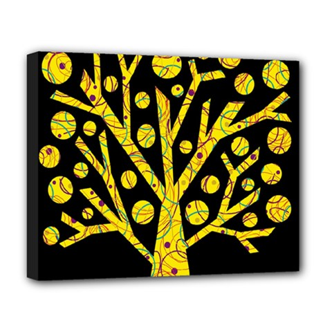 Yellow Magical Tree Deluxe Canvas 20  X 16   by Valentinaart