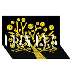 Yellow Magical Tree Best Bro 3d Greeting Card (8x4) by Valentinaart