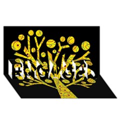 Yellow Magical Tree Engaged 3d Greeting Card (8x4) by Valentinaart