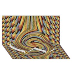Gold Blue And Red Swirl Pattern Twin Heart Bottom 3d Greeting Card (8x4) by theunrulyartist