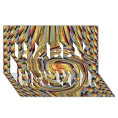 Gold Blue And Red Swirl Pattern Happy New Year 3d Greeting Card (8x4)