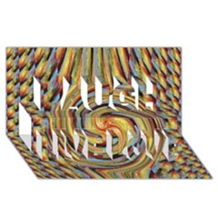 Gold Blue And Red Swirl Pattern Laugh Live Love 3d Greeting Card (8x4) by theunrulyartist