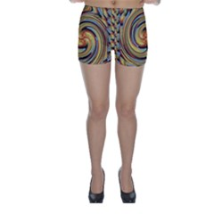 Gold Blue and Red Swirl Pattern Skinny Shorts by theunrulyartist