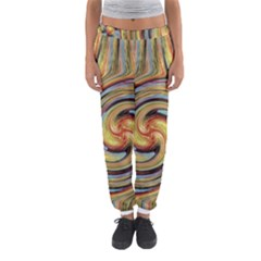 Gold Blue And Red Swirl Pattern Women s Jogger Sweatpants by theunrulyartist