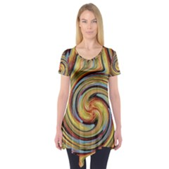 Gold Blue And Red Swirl Pattern Short Sleeve Tunic