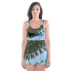 Sun Ray Swirl Design Skater Dress Swimsuit