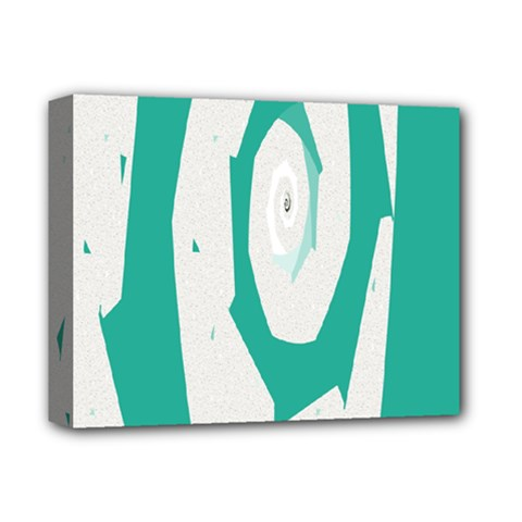Aqua Blue And White Swirl Design Deluxe Canvas 14  X 11  by theunrulyartist