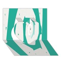 Aqua Blue And White Swirl Design Heart 3d Greeting Card (7x5)