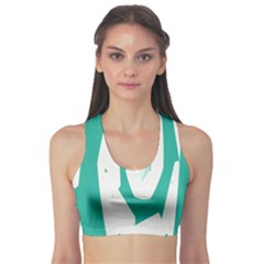 Aqua Blue And White Swirl Design Sports Bra by theunrulyartist
