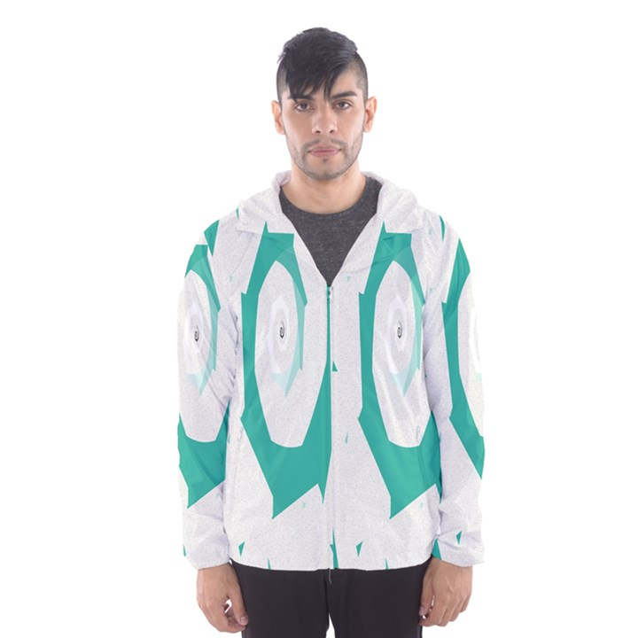 Aqua Blue and White Swirl Design Hooded Wind Breaker (Men)