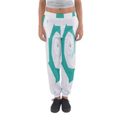 Aqua Blue And White Swirl Design Women s Jogger Sweatpants by theunrulyartist