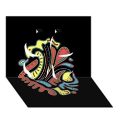 Colorful Abstract Spot Clover 3d Greeting Card (7x5) by Valentinaart