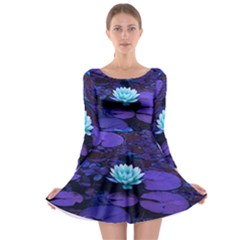 Lotus Flower Magical Colors Purple Blue Turquoise Long Sleeve Skater Dress by yoursparklingshop