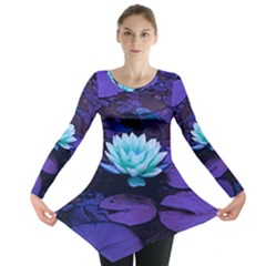 Lotus Flower Magical Colors Purple Blue Turquoise Long Sleeve Tunic  by yoursparklingshop