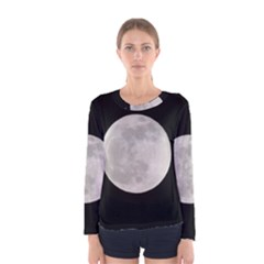 Full Moon At Night Women s Long Sleeve Tee by picsaspassion