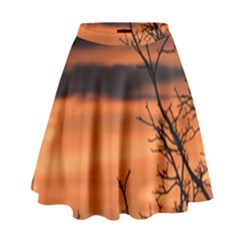 Tree Branches And Sunset High Waist Skirt by picsaspassion