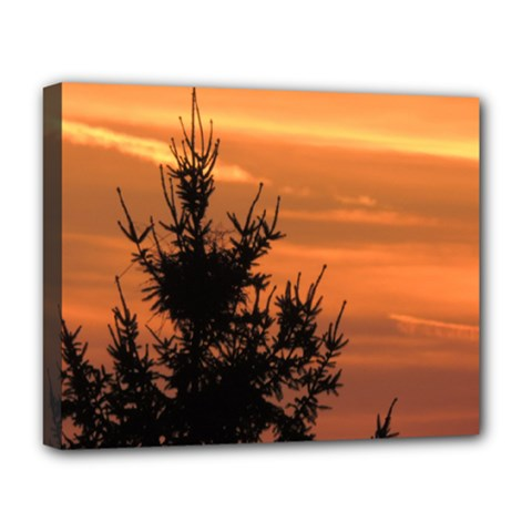 Christmas Tree And Sunset Deluxe Canvas 20  X 16   by picsaspassion