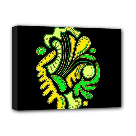 Yellow And Green Spot Deluxe Canvas 16  X 12   by Valentinaart