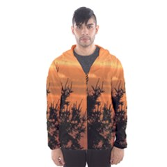 Christmas tree and sunset Hooded Wind Breaker (Men) by picsaspassion