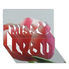 Red   White Tulip Flower Miss You 3d Greeting Card (7x5)