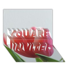 Red Tulips You Are Invited 3d Greeting Card (7x5) by picsaspassion