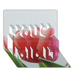 Red Tulips You Did It 3d Greeting Card (7x5) by picsaspassion