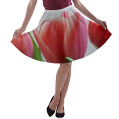 Red Tulips A Line Skater Skirt by picsaspassion