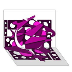 Something Purple Circle 3d Greeting Card (7x5) by Valentinaart