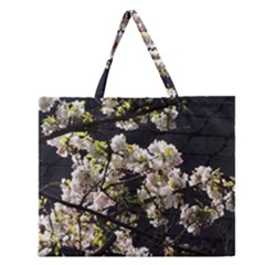 Blooming Japanese Cherry Flowers Zipper Large Tote Bag by picsaspassion
