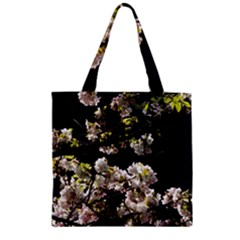 Japanese Cherry Flower Zipper Grocery Tote Bag by picsaspassion