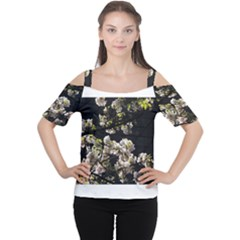 Japanese Cherry Flower Women s Cutout Shoulder Tee by picsaspassion