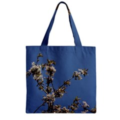 White Cherry Flowers And Blue Sky Zipper Grocery Tote Bag by picsaspassion