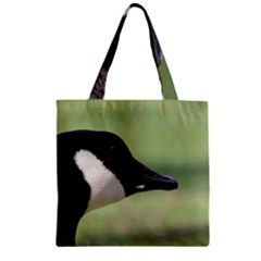 Goose, Black And White Zipper Grocery Tote Bag by picsaspassion
