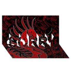Red Dragon Sorry 3d Greeting Card (8x4)